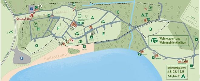 Lageplan Naturcampingplatz am Olbasee