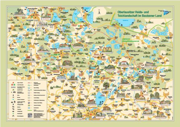 Übersichtskarte Oberlausitzer heide- und Teichlandschaft